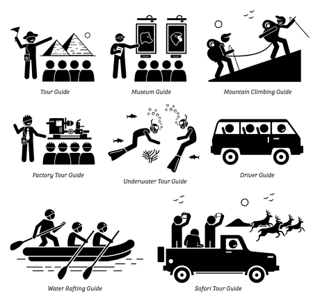 Tour Guide Jobs and Careers. Artworks depict different tour guide for museum, mountain climbing, hiking, factory, underwater, driver, water rafting, and safari tour guide.
