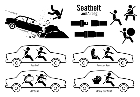 seat belt: Car Seat Belt and Airbag. Artworks depict car crash accident, buckle seatbelt, airbags, booster seat for child, and baby car seat.