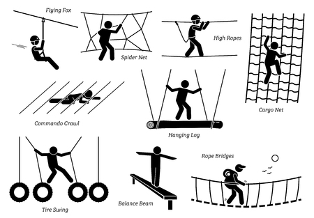 recreational climbing: Eco Resort Activities. Artworks depict games at eco resort which includes flying fox, spider net, high ropes walk, cargo net climbing, crawl, hanging log, tire swing, balance beam, and rope bridges.