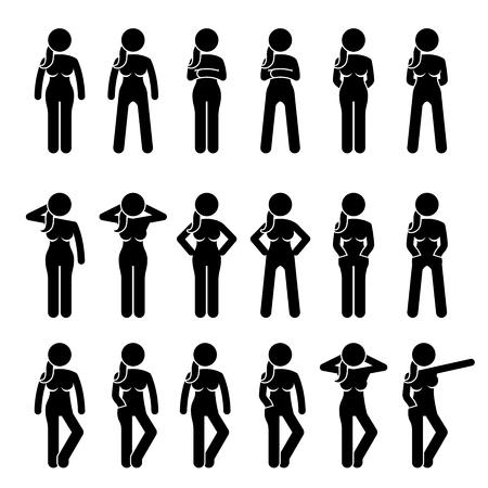 기본 여자 자세와 포즈 서입니다. 삽화는 다양한 신체 언어로 다양한 위치에 여성 인간의 입장을 묘사합니다.