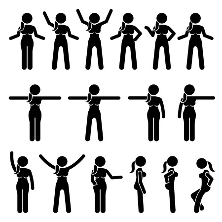 various: Basic Woman Standing Actions and Movements. Artworks depict a female human standing in various positions with different body languages.