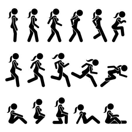 Basic Woman Walk and Run Actions and Movements. Artworks depict a female human walking and running in various motions, positions, and postures. Vettoriali