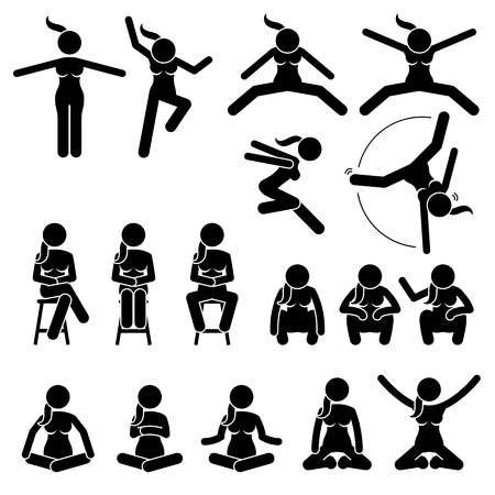 wide open: Basic Woman Jump and Sit Actions and Positions. Artworks depict a female human jumping and sitting in various motions and postures.