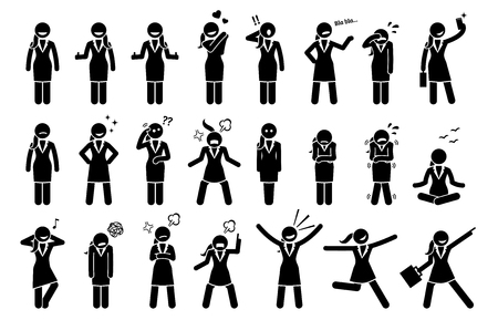 feelings and emotions: Businesswoman Feelings and Emotions. Artwork depicts business woman body language actions and expressions such as happy, sad, cheerful, angry, surprised, and determination. Illustration