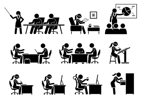 business meeting: Businesswoman Working in an Office. Artworks depict business woman works by doing presentation, reading, making business proposal, discussion, writing, and using computer.