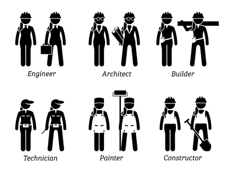 feminino: Industrial and Constructions Jobs, Works, and Occupations for Women. Artworks depict female engineer, woman architect, builder, girl technician, lady painter, and female constructor. Ilustração