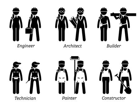 Industrie et Constructions Emploi, Travaux et Professions pour les Femmes. Les oeuvres représentent une ingénieur féminine, une femme architecte, un constructeur, une technicienne féminine, une femme peintre et une femme constructrice. Vecteurs