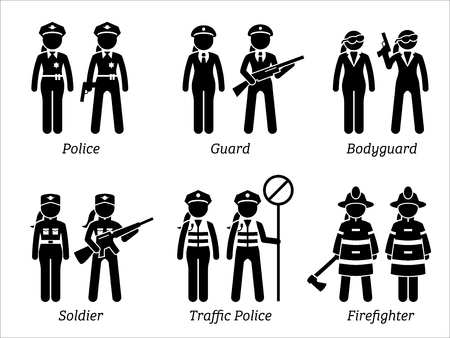 Public Safety Jobs and Occupations for Women. Artworks depict female police, woman guard, bodyguard, girl soldier, lady traffic police, and female firefighter.