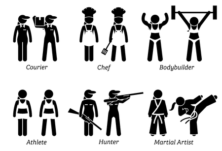 female girl: Jobs, Works, and Occupations for Women. Artworks depict lady courier worker, female chef, woman hunter, female athlete, bodybuilder, and girl martial artist.