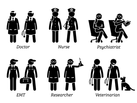 Healthcare Jobs, Works, and Occupations for Women. Artworks depict female doctor, nurse, woman psychiatrist, girl EMT, lady researcher, and female veterinarian.