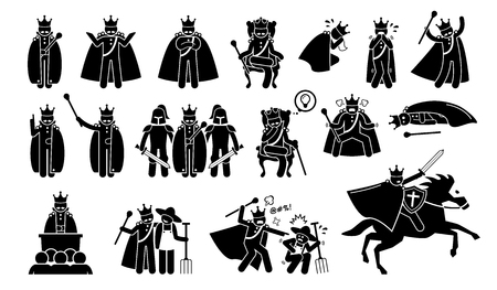 King Characters in Pictogram Set. Artworks depicts a medieval king in different poses, emotions, feelings, and actions. The emperor is wearing a crown or throne and is a great ruler. Ilustração