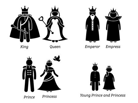 王室。絵文字セットは、王、女王、天皇、皇后両陛下、プリンス、プリンセス、王室の子供たちの漫画のキャラクターを描いています。