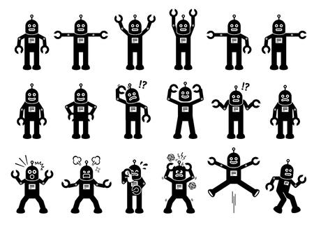 Personnages de dessin animé de robots dans diverses poses, actions et émotions. Les cliparts représentent le robot debout, en mouvement, en souriant, triste, pleurant, en colère et d'autres sentiments. Vecteurs
