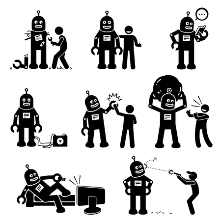 Robot and Human. Cliparts depicts a man created a robot. The robot becomes his friend, learning new things, and helps the human to do work. Vector Illustration