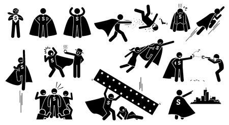 Stickman Superman Superhero. Cliparts depict a hero character in actions. The superhero is beating bad people, flying up, rescuing a girl, and protecting the city from villain.