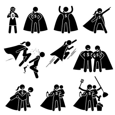 Superhéroe heroína superhéroe femenino. Cliparts representa a una superwoman en varias actitudes y acciones. Ella es también una supermom ocupada que puede hacer el trabajo de casa y el cuidado de su familia.
