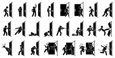 Piktogram człowieka i drzwi. Cliparty przedstawiają różne czynności człowieka z drzwiami.