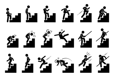 Człowiek ze schodami lub schodami Piktogram. Cliparty przedstawiają różne działania osoby z schodami. Ilustracje wektorowe