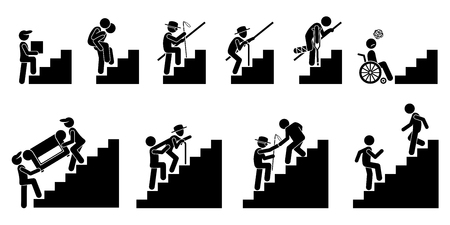 piggyback: People on Staircase or Stairs. Cliparts pictogram depicts different person in actions on stairs.