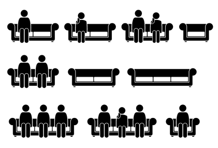 People Sitting on Chair Sofa. Pictogram depicts man and woman sitting on couch. Illustration