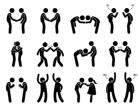 meet up: People Meeting and Greeting Gestures Etiquette . Artwork depicts people handshake, holding hand, bowing, fist bump, hugging, kissing hand, namaste, and saying good bye.