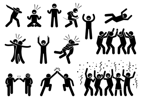 Celebration Poses and Gestures. Artwork depicts people celebrating in various styles such as dabbing, fist pump, chest bump, raising hand, high five, throwing person in the air, and group celebration. Vettoriali
