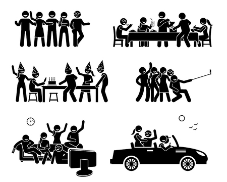Happy Friends Hanging Out Together. Sztuki przedstawiają grupę przyjaciół, którzy jedzą i jadają, mają urodziny, biorą grupowe zdjęcia, oglądają telewizję i wybierają się na wycieczkę samochodową. Ilustracje wektorowe