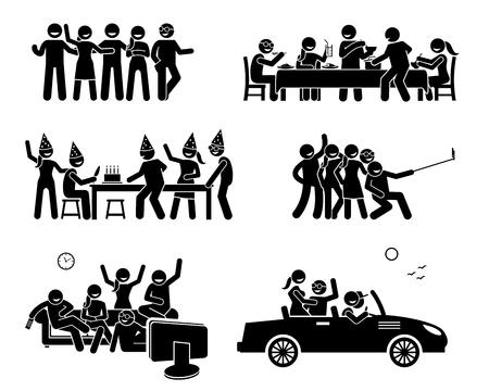 Les amis heureux s'embrassent ensemble. Les oeuvres illustrent un groupe d'amis qui mangent et dînent, font une fête d'anniversaire, prennent une photo de groupe en self-house, regardent la télévision et partent en voiture ensemble. Banque d'images - 80039181