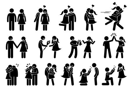 Glückliches Paar und Liebhaber. Freund und Freundin lieben sich gegenseitig. Stock-Figuren zeigen ein paar Küssen, halten Hand, geben Geschenke, hohe fünf, trösten, umarmen, Kuscheln und Heirat Vorschlag.