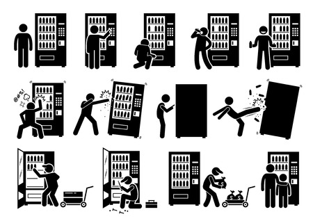 People with Vending Machine. Pictogram depicts a person using vending machine and destroying it. The stick figures also shows a worker stocking up, fixing, and collecting the money from it.