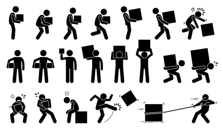 pick light: Man carrying and picking a box in various poses, postures, and positions.