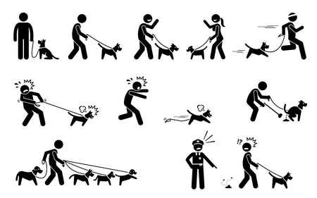 Man Walking Dog. Stick figures depict people walking pet dogs on a leash in various situations.