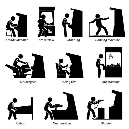 Arcade Center Máquinas de juegos. El pictograma representa a personas y jugadores que juegan varias máquinas recreativas que incluyen baile, motocicleta, automóvil de carreras, garra, pinball, pistola y tirador.