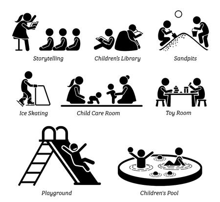 kindy: Children Recreational Facilities and Activities. Pictogram depicts children storytelling, kids library, playing at sandpits, ice skating, child care room, toy room, playground, and small pool. Illustration