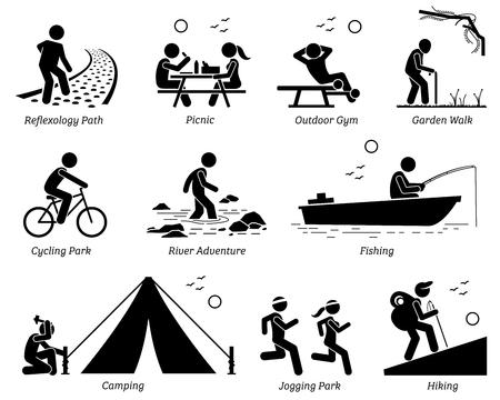 Recreación al aire libre Estilo de vida recreativo y actividades. Pictograma muestra sendero de reflexología, picnic, gimnasio al aire libre, paseo al jardín, parque de ciclismo, aventura en el río, pesca, camping, jogging y senderismo.
