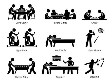 실내 클럽 게임 및 오락 활동. 막대기 그림은 카드 및 보드 게임, 체스, 체육관 방, 당구대, 던지는 다트, 축구 테이블, 스누커 및 볼링 레크리에이션 활동을 묘사합니다.