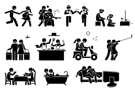 Happy Lover Couple Activities. Stick figures depict boyfriend and girlfriend dating and doing various indoor and outdoor activities together. Illustration
