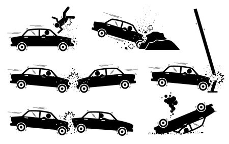Car Accident and Crash Illustrations 向量圖像