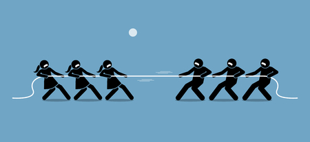 Man vs Woman in Tug of War. Illustration artwork depicts feminist, gender equality, strength, and power of male versus female. Çizim