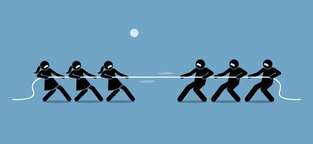 Man vs Woman in Tug of War. Illustration artwork depicts feminist, gender equality, strength, and power of male versus female. Illustration