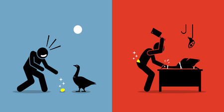 Man Killing a Golden Goose with a Gold Egg. Artwork illustrations depicts greed, stupidity, impatient, and fortune.