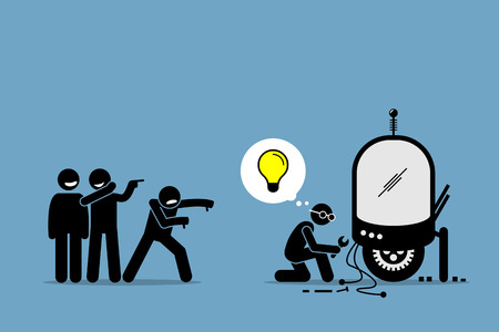 Critics Mocking and Making Fun of an Inventor from Creating and Inventing New Idea and Extraordinary Technology. Artwork illustrations depicts critique, hate, ignorant, inventor, and unsupportive. Vettoriali
