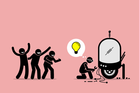 Fans Praising and Supporting an Inventor for Creating New Idea and Making New Thing. Artwork illustration depicts fanboys, supporters, followers, and inventor. Illustration