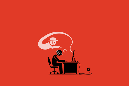Internet Cyber Scammer Trying to Cheat an Internet User. Artwork Illustration depicts electronic scam, con artist, cyber crime, hack, hacker, and phishing site.