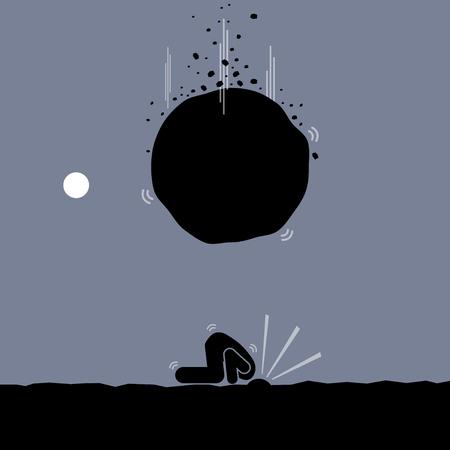 타조가되어 문제를 피하려고하는 남자. 그는 가혹한 현실을 무시하기 위해 머리를 땅에 묻습니다.