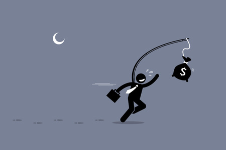 oblivious: Oblivious man chasing a bag of money. Artwork illustration depicts foolishness, stupidity, unawareness, and decoy. Illustration