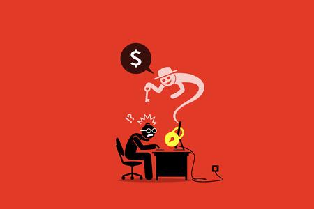 Ransomware vergrendelt een computer en vraagt om geld. Artwork illustratie toont internet ransomware, virus, beveiliging geschonden en computer gegevens vergrendeld door cyber syndicate crimineel.