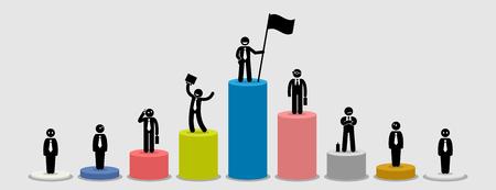 Muchos diferentes hombres de negocios de pie en los gráficos de barras que comparan su situación financiera. La ilustración de la obra de arte representa al líder del mercado, jugadores grandes y pequeños, comparación y riqueza en el mundo empresarial.