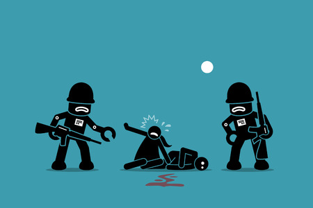 Robot soldiers conquering humanity.  Robotic terminator kills human with violence attack. Artwork illustrations depict war between robot and human, uprising, revolution, and evolution of AI.