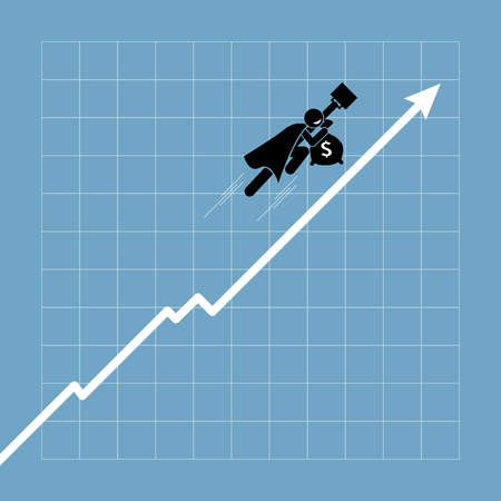 traders: Businessman flying up above the chart as the graph going uptrend. Vector artwork depicts successful investment, financial gain, profit and economic success.